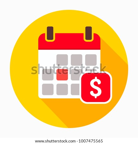 Dollar calendar day icon vector, filled flat sign, solid pictogram isolated on white. The pay day reminder symbol, logo illustration