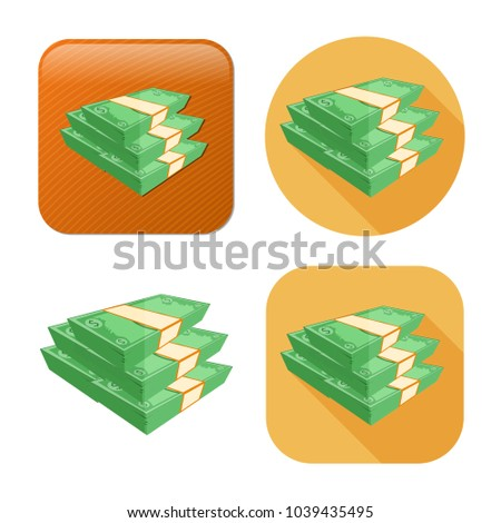 dollar cash coins icon - money stack currency - bank sign