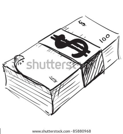 Dollar cash money icon. Hand drawing cartoon sketch illustration in childish doodle style