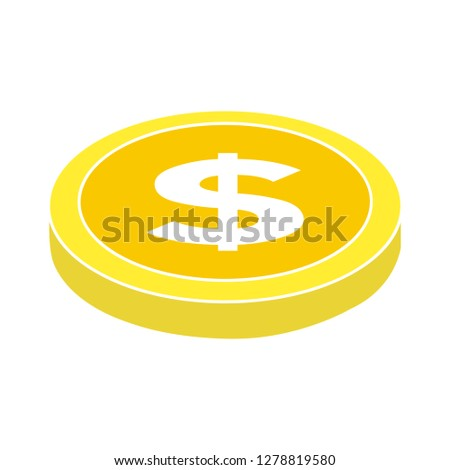 dollar coin icon -savings symbol- coin icon - economy symbol - currency illustration- profit sign - banking vector-earnings sign - rich vector- investment isolated
