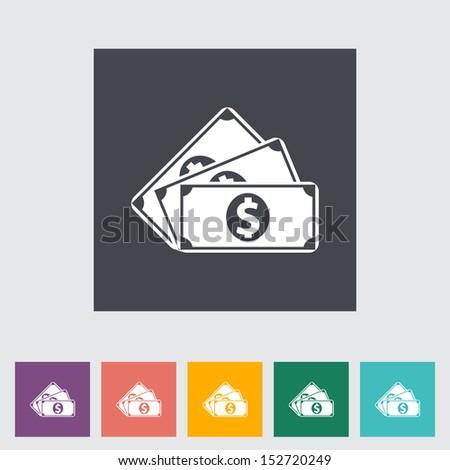 Dollar coin. Single flat icon. Vector illustration.