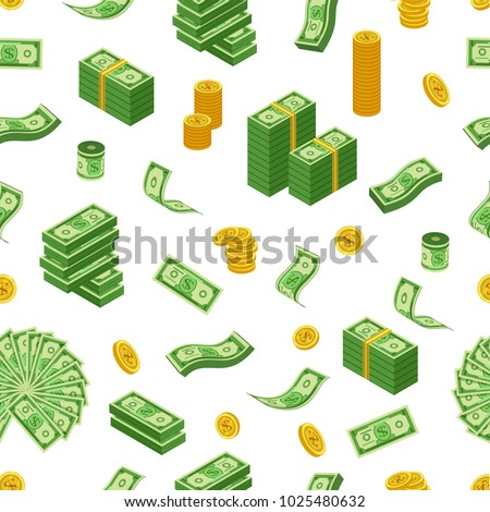 dollar coins  bills and bundles