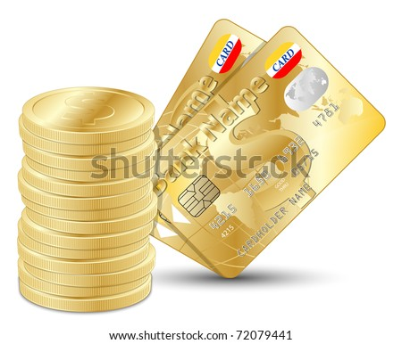 Dollar coins with two gold credit cards, vector