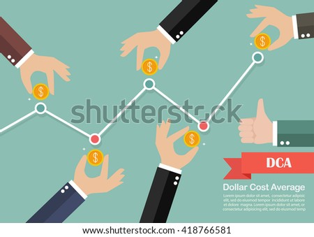 Dollar cost average investment concept. Business metaphor