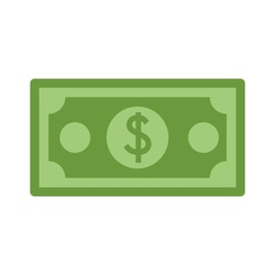 Dollar currency banknote green. Dollars bill, money banknote. Vector dollar bill isolated on white background. Dollar currency banknote green. Flat illustration of money