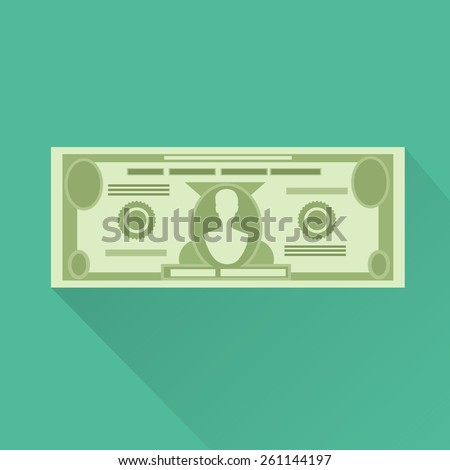 dollar currency banknote green vector illustration