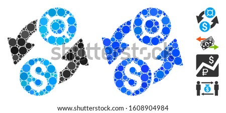 Dollar currency exchange composition of small circles in variable sizes and color hues, based on dollar currency exchange icon. Vector small circles are combined into blue composition.