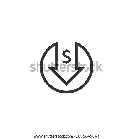 dollar decrease icon. Money symbol with arrow stretching rising drop fall down. Business cost reduction icon. vector illustration.
