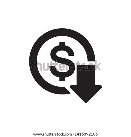 dollar down icon symbol vector. on white background. eps10 Сток-фото ©