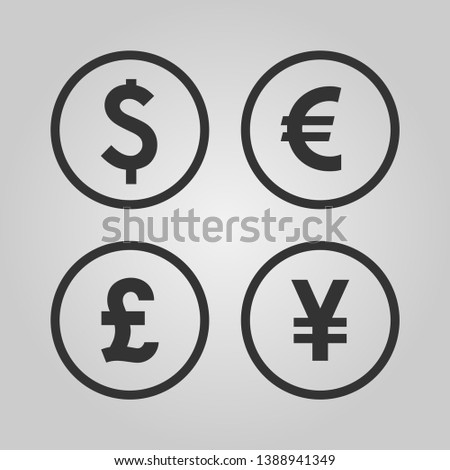Dollar, Euro, Pound and Yen currency icons. USD, EUR, GBP and JPY money sign symbols. Black vector icons isolated on white background.