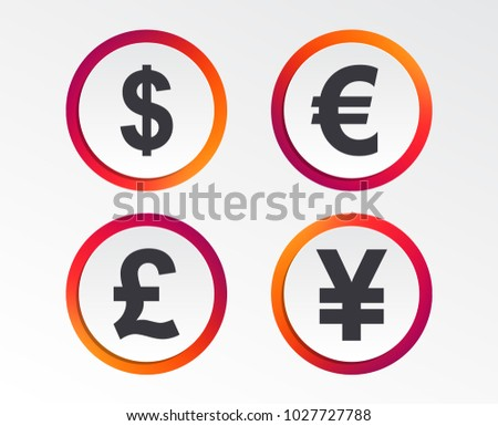 Dollar, Euro, Pound and Yen currency icons. USD, EUR, GBP and JPY money sign symbols. Infographic design buttons. Circle templates. Vector