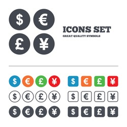 Dollar, Euro, Pound and Yen currency icons. USD, EUR, GBP and JPY money sign symbols. Web buttons set. Circles and squares templates. Vector