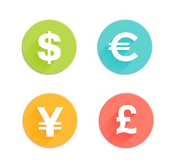 Dollar, euro, pound and yen currency vector signs with flat colored circle backdrops isolated on white background for app icon or website decoration