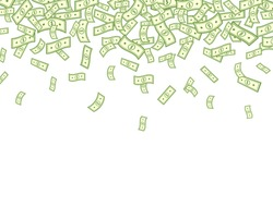 Dollar falling on white background. Banknotes icon explosion. Paper bank notes frame. Money in a flat style. Jackpot, big win. Cartoon cash sign. Currency collection. Dollar bills.Vector illustration.