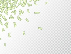 Dollar flying on transparent background. Paper bank notes frame. Banknotes icon. Money in a flat style. Jackpot, big win. Cartoon cash sign. Currency collection. Dollar bills. Vector illustration.