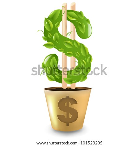 Dollar Growing From Gold Pot, Isolated On White Background, Vector Illustration