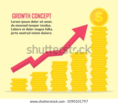 Dollar growth concept. Dollar revenue illustration. Stacks of gold coins like income graph with dollar.