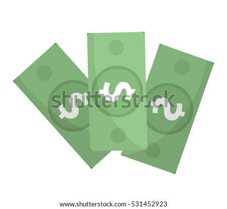 Dollar icon, flat design. Money dollars isolated on white background. Vector illustration, clip art