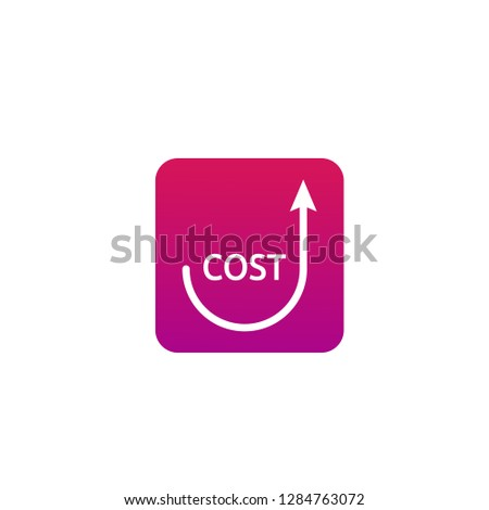 dollar increase icon with smiley shape. Money symbol with arrow rising up. Business cost sale icon with catchy background design. vector illustration.