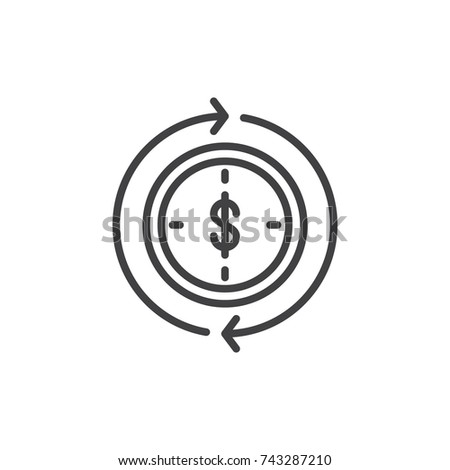 Dollar inside clock and circling arrows line icon, outline vector sign, linear style pictogram isolated on white. Money turnover symbol, logo illustration. Editable stroke