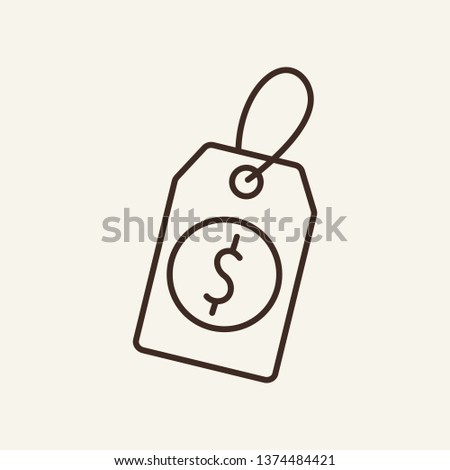 Dollar label line icon. Tag, price, discount. Currency concept. Vector illustration can be used for topics like for finance, currency rate, sale, markdown