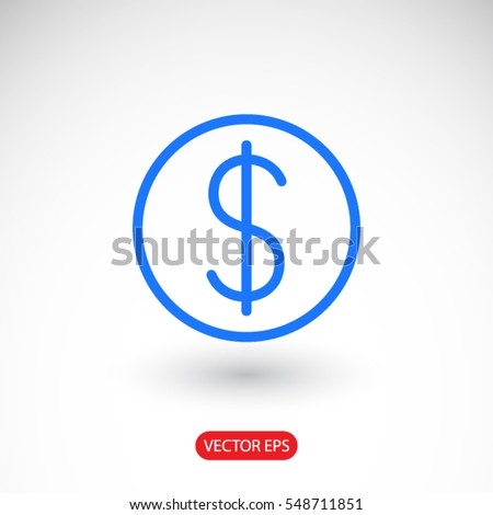Dollar, linear icon. One of a set of linear web icons