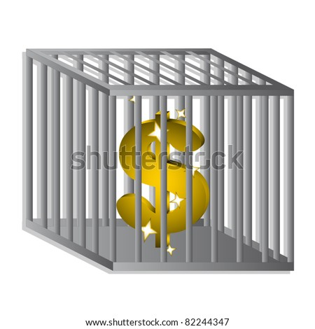 Dollar locked in cage