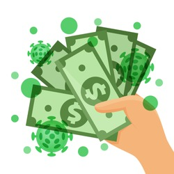 dollar money contaminated with viruses covid-19 concept, currency money and corona virus in hand, coronavirus virus infection from paper money, virus bacteria on banknote money usa dollar, vector
