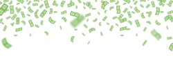 Dollar money flying on long white background. Pile of cash. Big win banner. Casino wallpaper. Business and finance concept. Banknote. Online wallet. Currency for mobile game, app. Vector illustration.