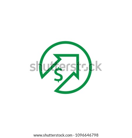 dollar rate increase icon. Money symbol with stretching arrow up. rising prices. Business cost sale icon. cash salary increase. vector illustration