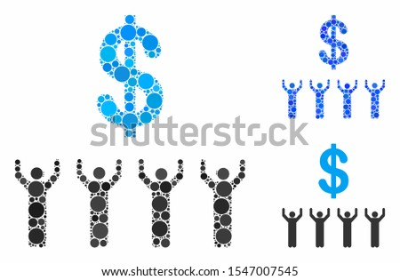Dollar religion mosaic of round dots in different sizes and shades, based on dollar religion icon. Vector round elements are grouped into blue mosaic.