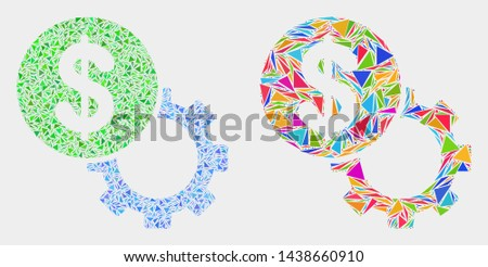 Dollar setup gear mosaic icon of triangle elements which have various sizes and shapes and colors. Geometric abstract vector illustration of dollar setup gear.