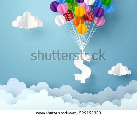 Dollar sign hanging with colorful balloon, business and finance concept and paper art idea, vector art and illustration. - Shutterstock ID 529153360