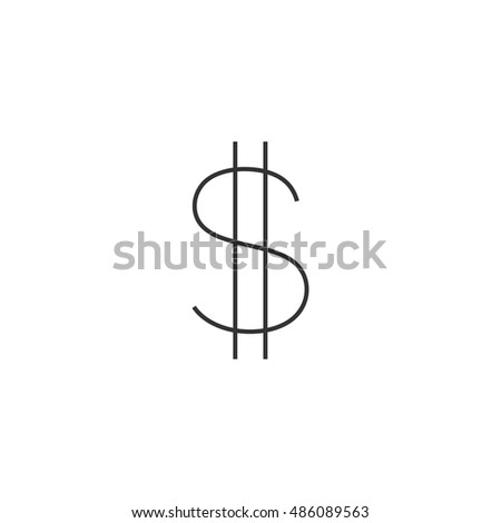 Dollar sign icon in thin outline style. USD, America