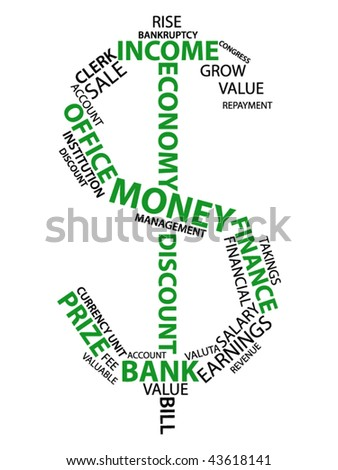 Dollar sign made from words which relate with money