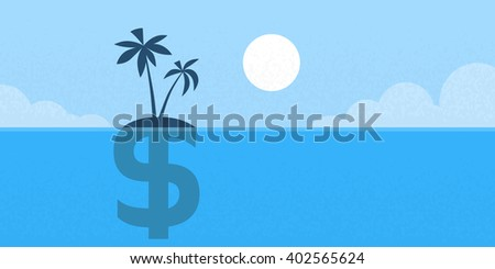 dollar sign offshore island