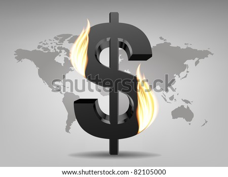 Dollar sign on fire (on a background map of the world)