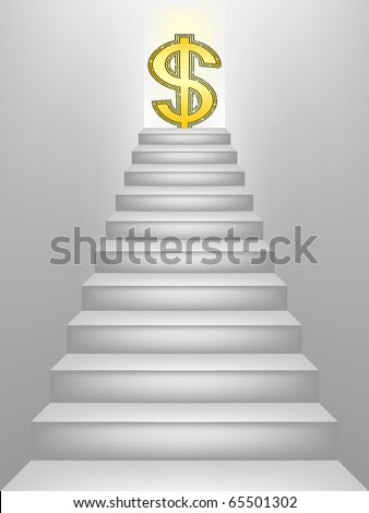Dollar sign on top of the stairs