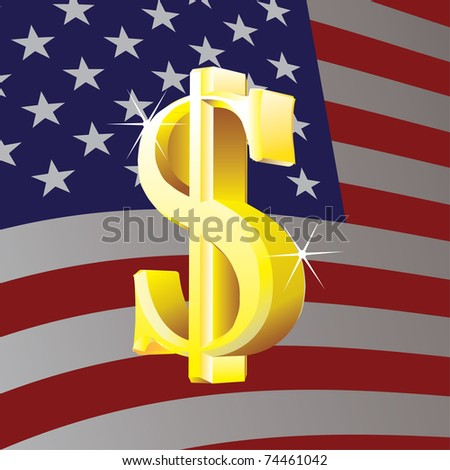 Dollar sign on us flag background - illustration