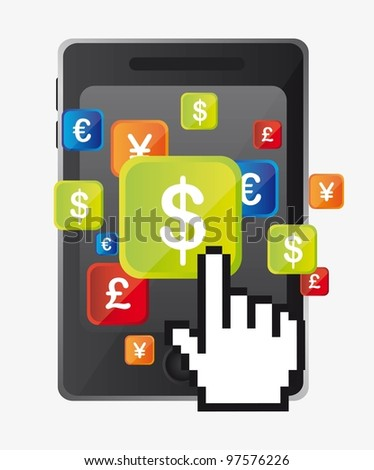 dollar sign over cellphone with cursor hand. vector illustration