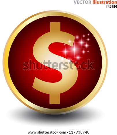 Dollar sign red ball