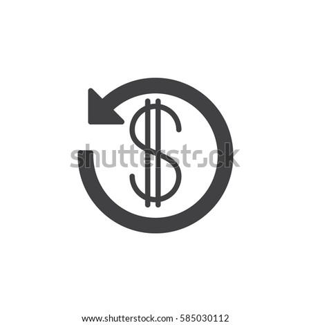 Dollar sign with arrow around icon vector, filled flat glyph, solid pictogram isolated on white. Cashback symbol, logo illustration