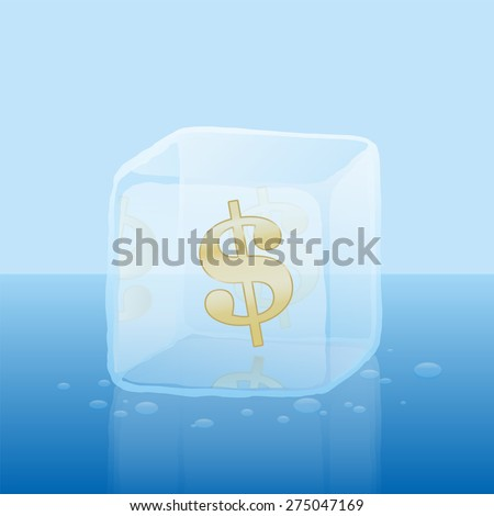 dollar symbol inside an ice