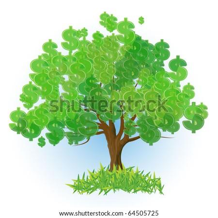 Dollar tree. Vector abstract.