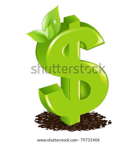 Dollar With Sprout, Isolated On White Background, Vector Illustration