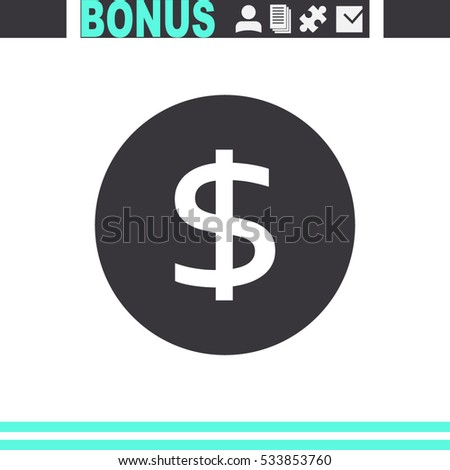 Dollars money coin vector icon.
