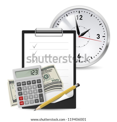 Dollars, Note and Pen, Classic Office Clock and Calculator