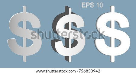 Dollars sign illustration. USD currency symbol. Money label. Set of symbols from various materials on a gray background. Vector illustration