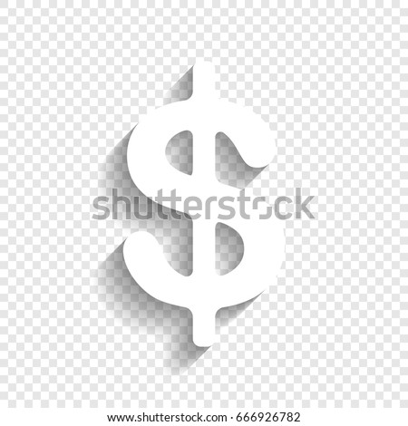 Dollars sign illustration. USD currency symbol. Money label. Vector. White icon with soft shadow on transparent background.