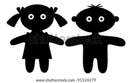 Dolls, little boy and girl, black silhouette, isolated. Vector